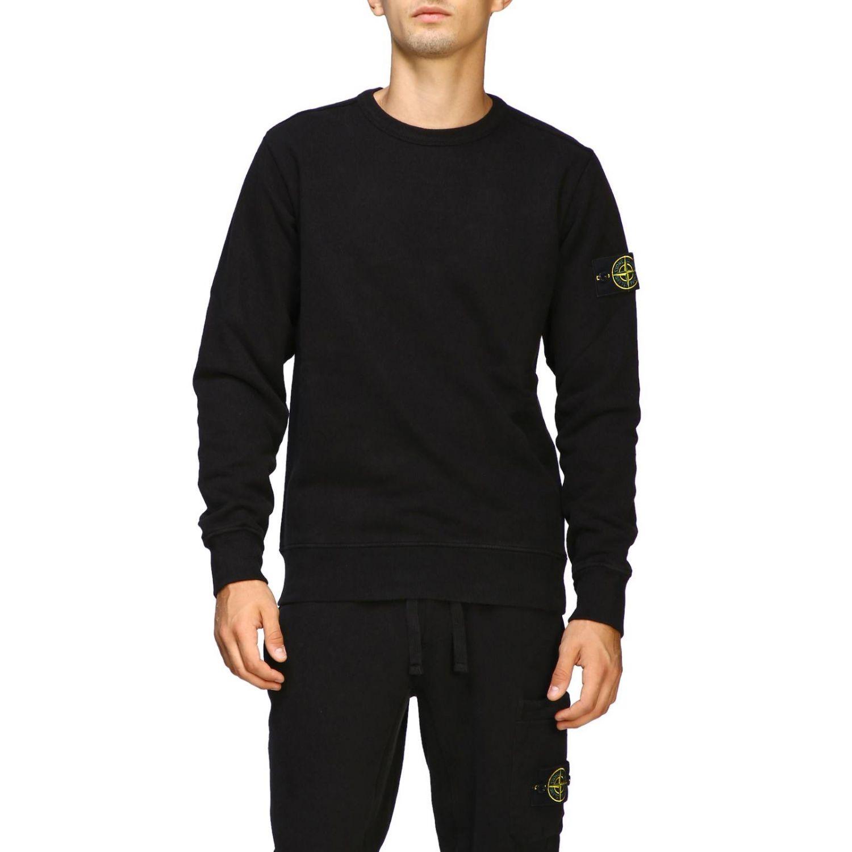 Sweatshirt mit Rundhalsausschnitt von Stone Island und Logo schwarz 1