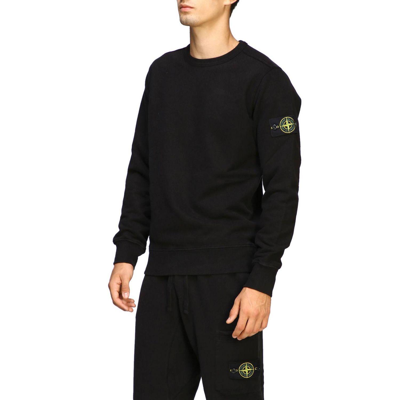 Sweatshirt mit Rundhalsausschnitt von Stone Island und Logo schwarz 4