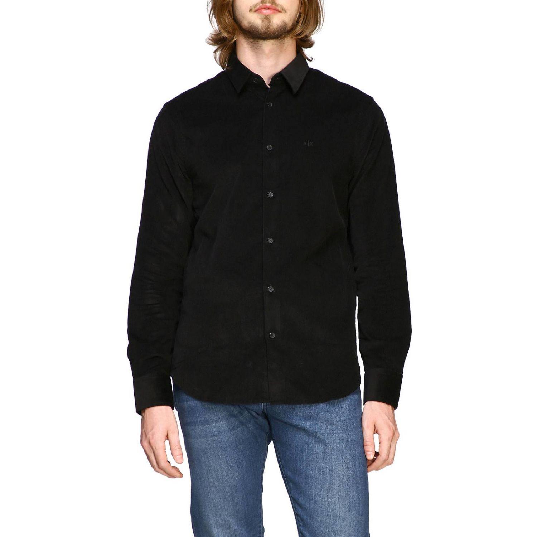 Camisa de terciopelo Armani Exchange 1000 rayas con cuello pequeño negro 1