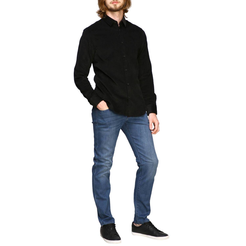 Camisa de terciopelo Armani Exchange 1000 rayas con cuello pequeño negro 2