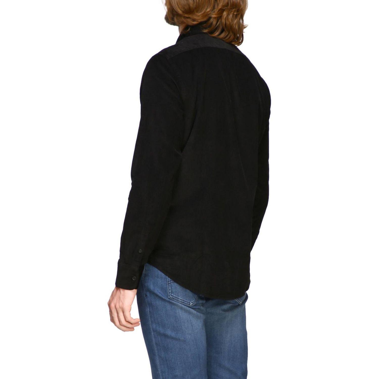 Camisa de terciopelo Armani Exchange 1000 rayas con cuello pequeño negro 3