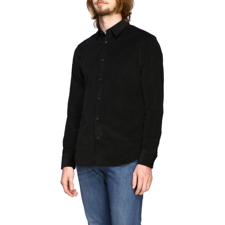 Camisa de terciopelo Armani Exchange 1000 rayas con cuello pequeño negro 4