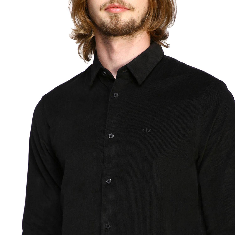 Camisa de terciopelo Armani Exchange 1000 rayas con cuello pequeño negro 5