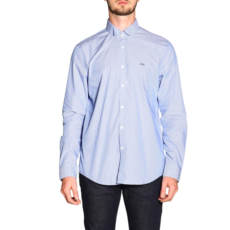 Armani Exchange Hemd mit kleinem Kragen hellblau 1
