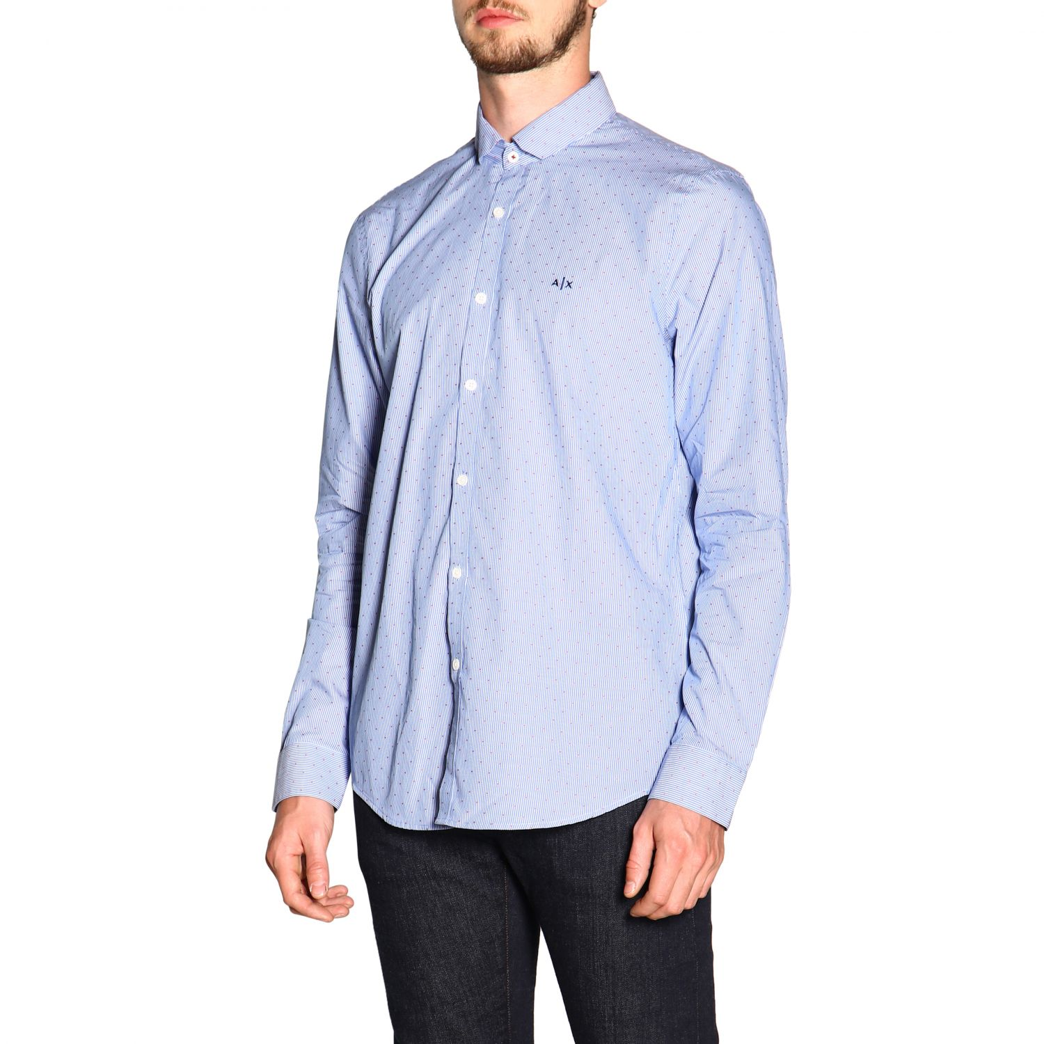 Shirt men Armani Exchange gnawed blue 4