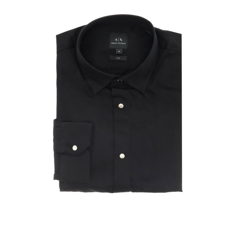 衬衫 Armani Exchange: Armani Exchange 小领修身衬衫 黑色 1
