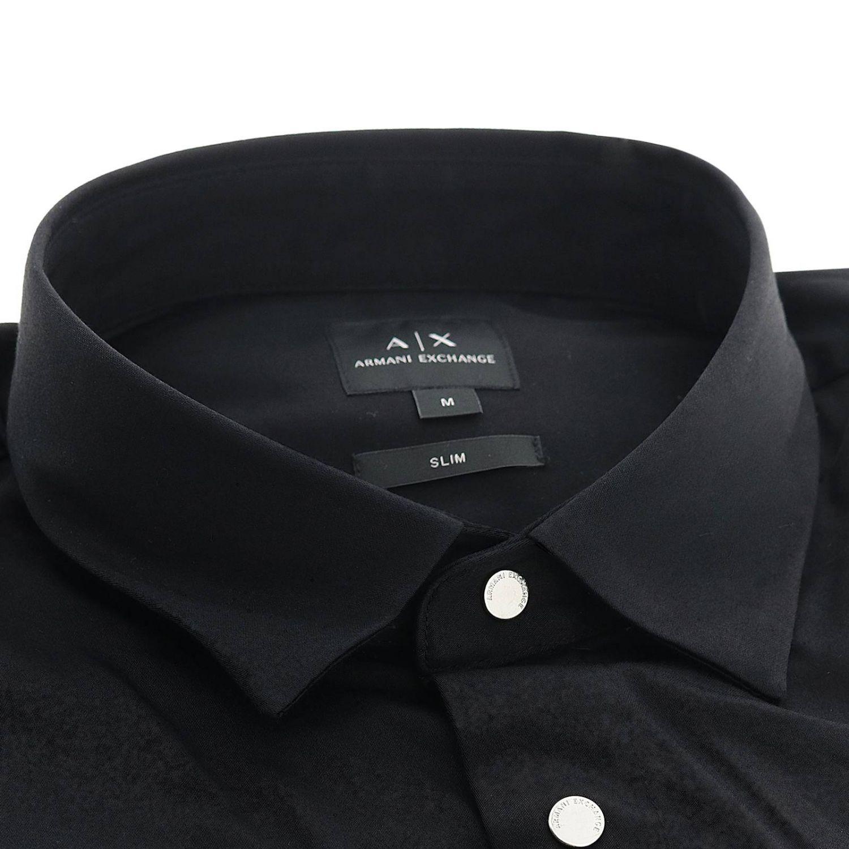 衬衫 Armani Exchange: Armani Exchange 小领修身衬衫 黑色 2