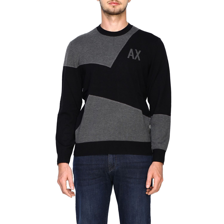 Maglia Armani Exchange: Girocollo jacquard block color nero 1