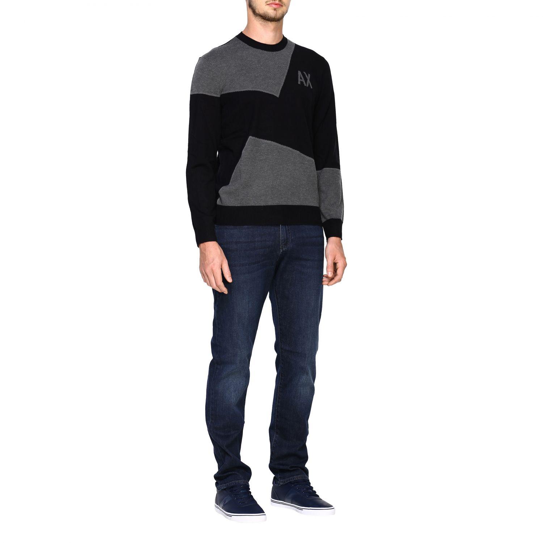 Maglia Armani Exchange: Girocollo jacquard block color nero 2