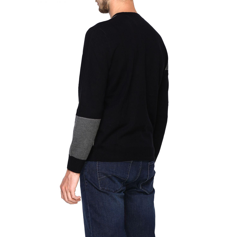 Maglia Armani Exchange: Girocollo jacquard block color nero 3
