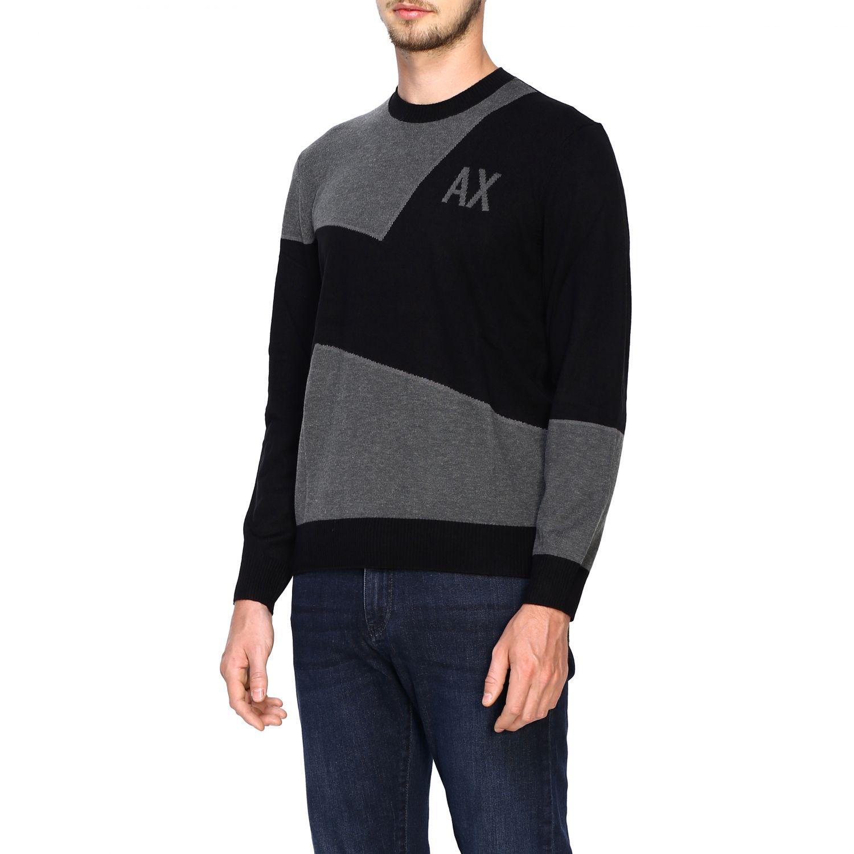 Maglia Armani Exchange: Girocollo jacquard block color nero 4