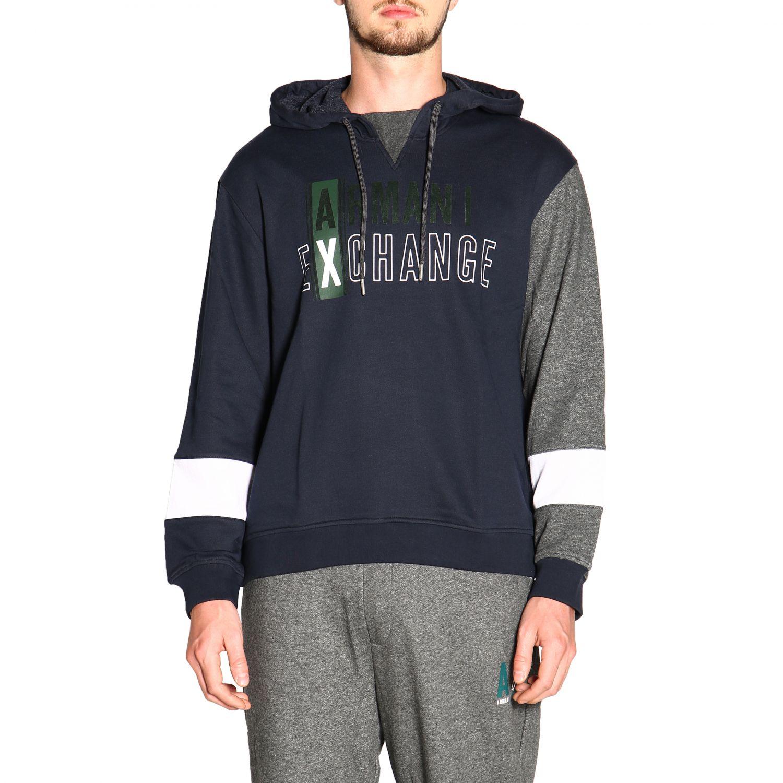 Armani Exchange logo印花连帽卫衣 蓝色 1