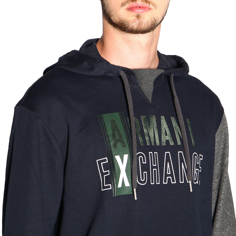 Armani Exchange logo印花连帽卫衣 蓝色 5