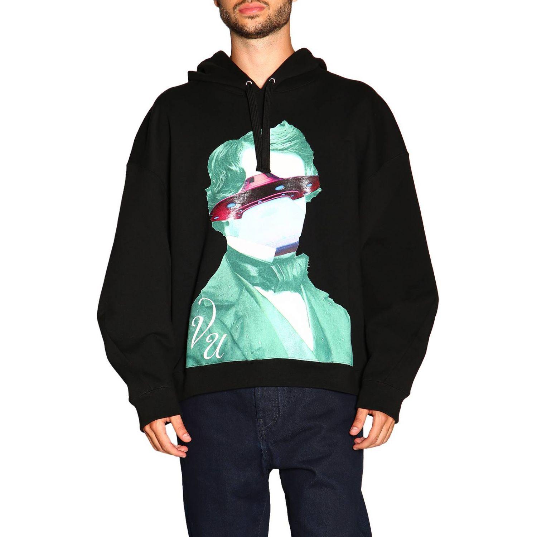 Valentino Kapuzensweatshirt mit V-Face-UFO-Logo schwarz 1