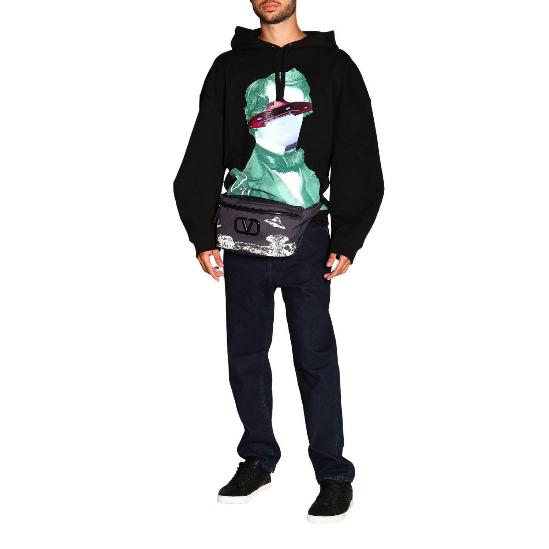 Valentino Kapuzensweatshirt mit V-Face-UFO-Logo schwarz 2