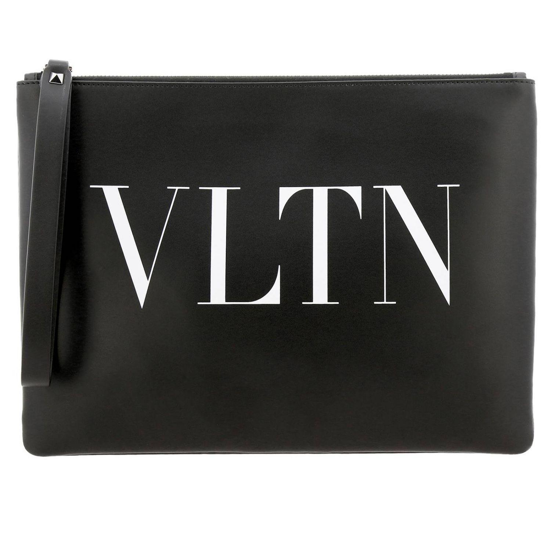 Pochette Valentino Garavani in pelle con maxi stampa VLTN nero 1