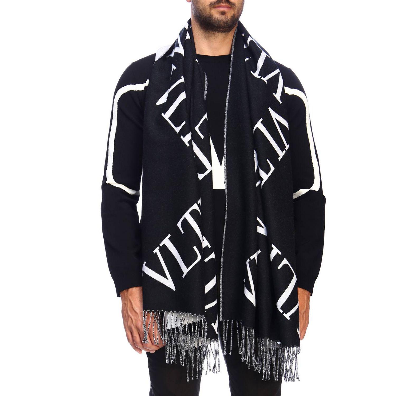 Jacquard-Doppelschal aus Wolle mit Maxi-Valentino-Garavani-VLTN-Logo schwarz 1