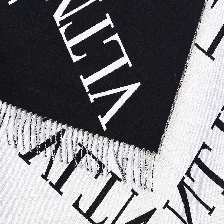 Jacquard-Doppelschal aus Wolle mit Maxi-Valentino-Garavani-VLTN-Logo schwarz 2