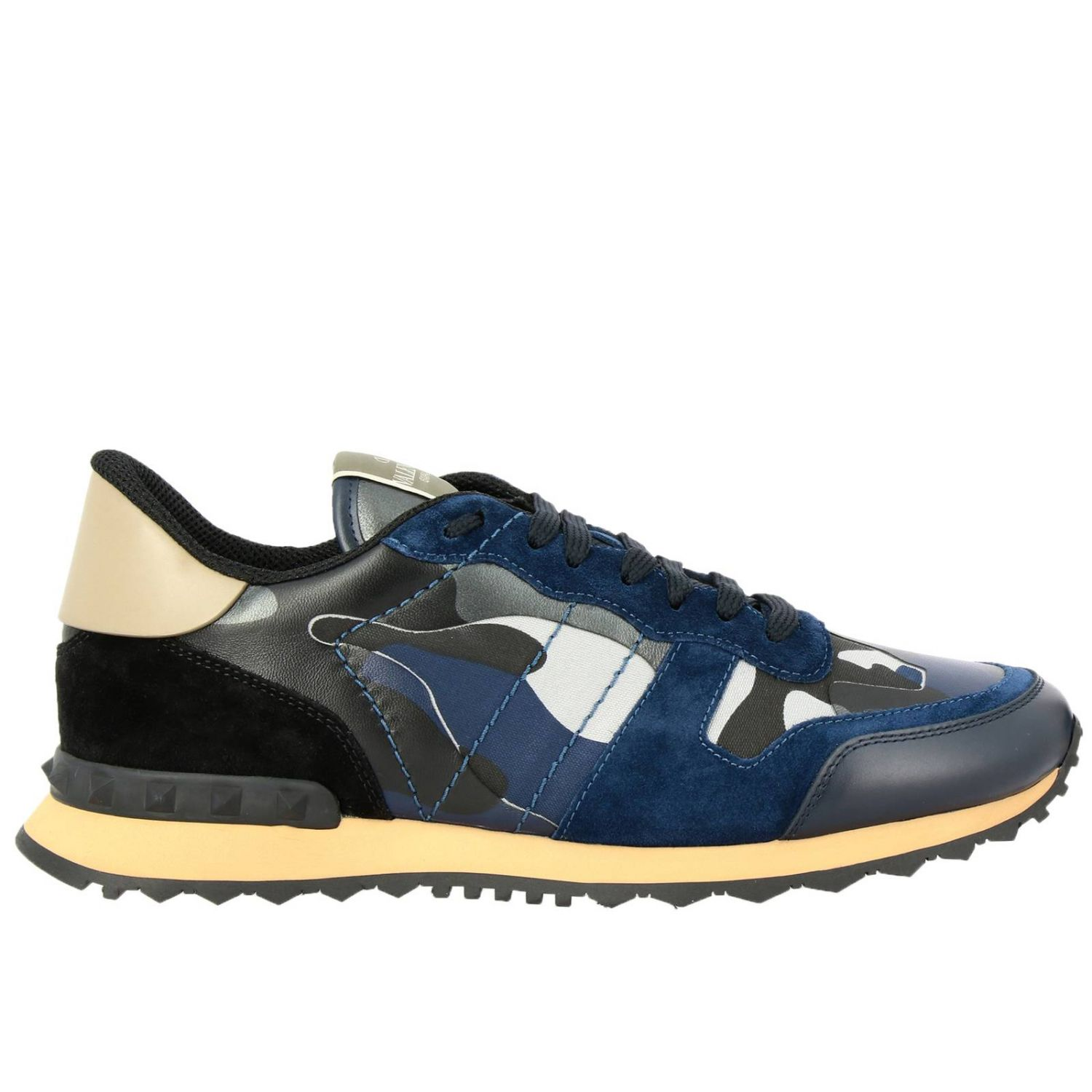 Valentino Garavani Rock runner camouflage suede and leather sneakers blue 1
