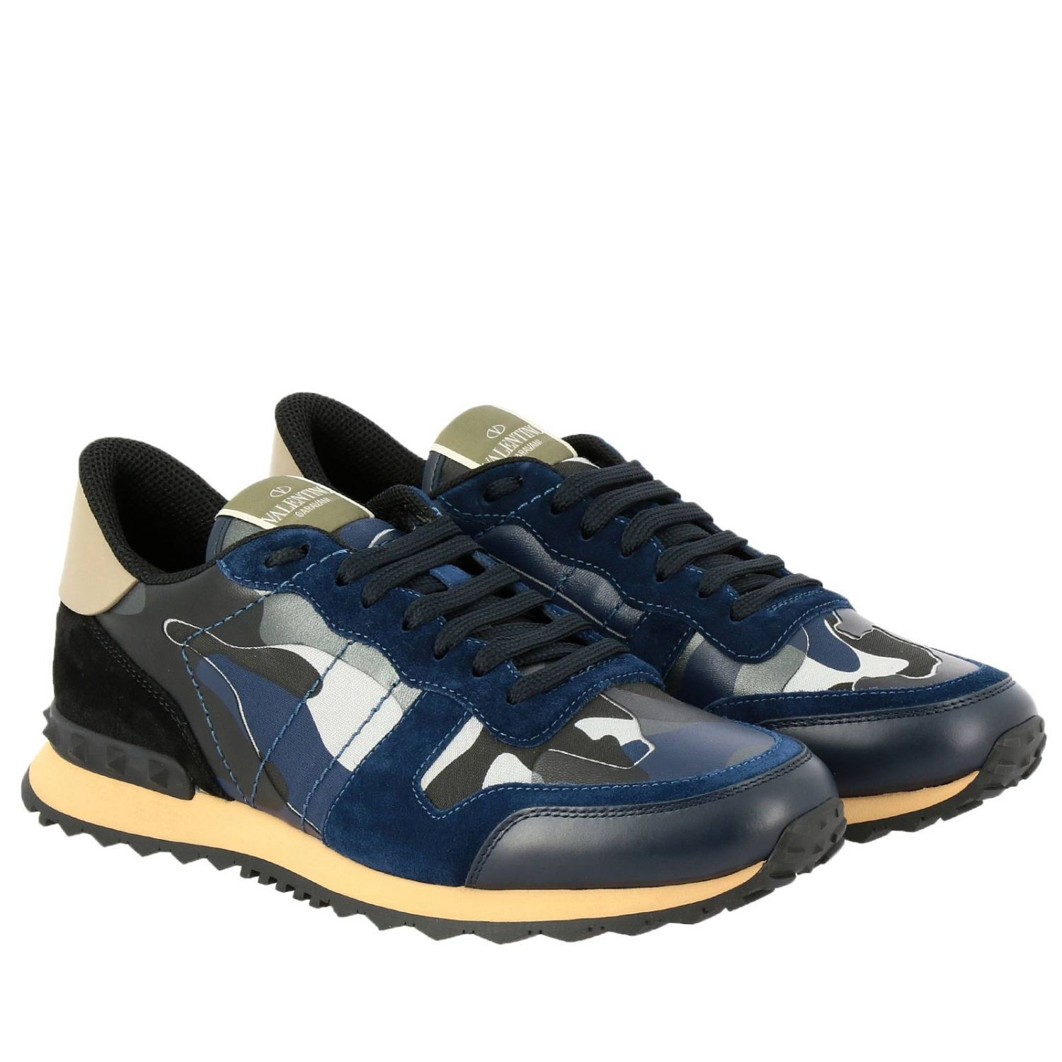 Valentino Garavani Rock runner camouflage suede and leather sneakers blue 2