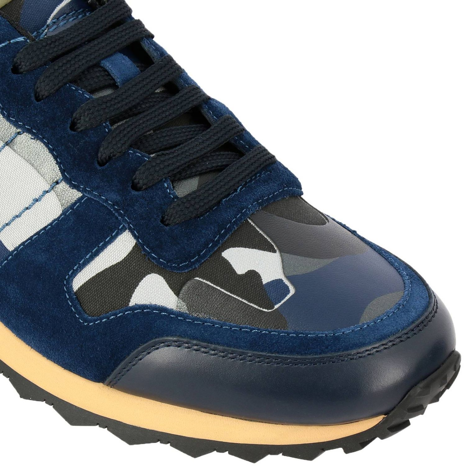 Valentino Garavani Rock runner camouflage suede and leather sneakers blue 3