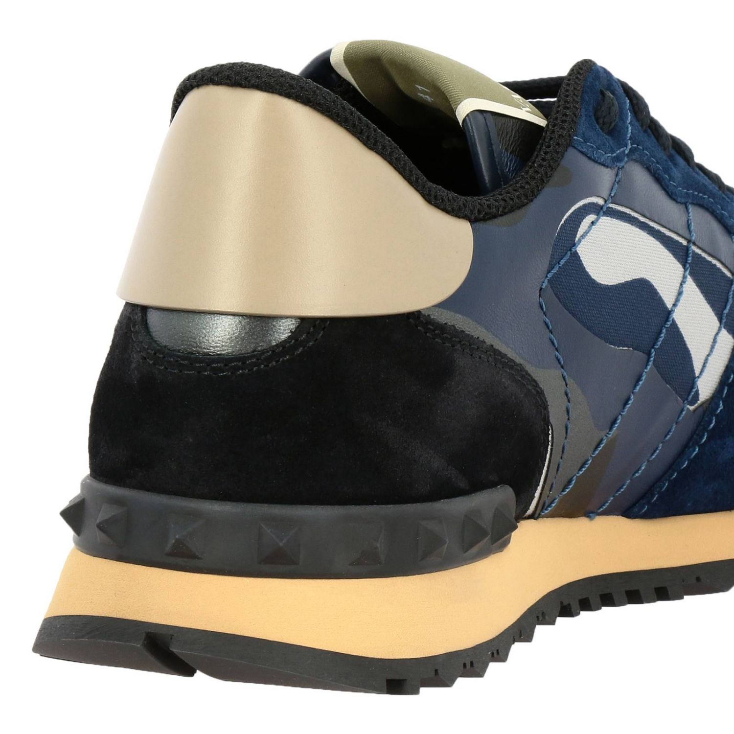 Valentino Garavani Rock runner camouflage suede and leather sneakers blue 4
