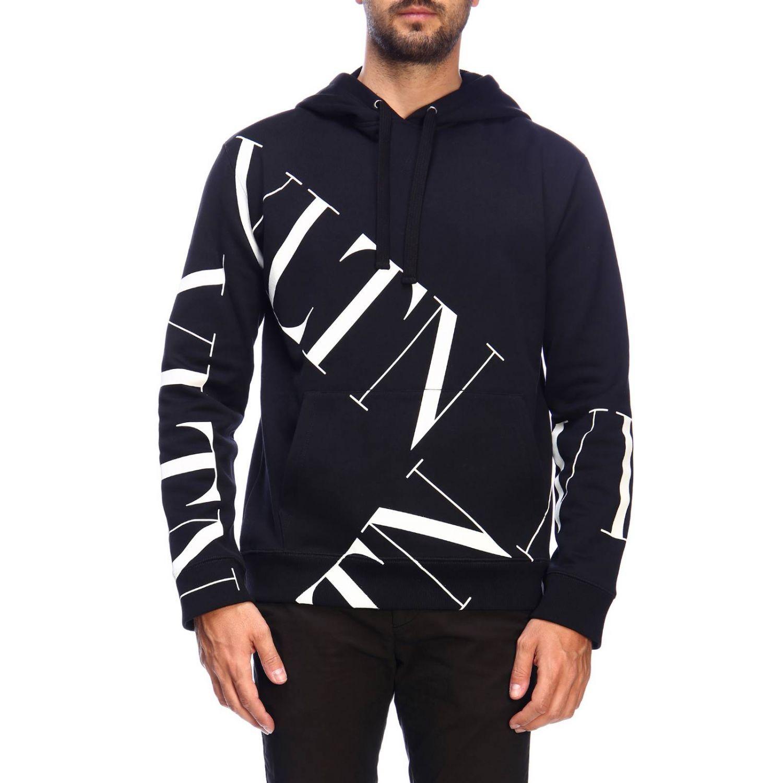 Valentino sweatshirt with hood and VLTN logo black 1