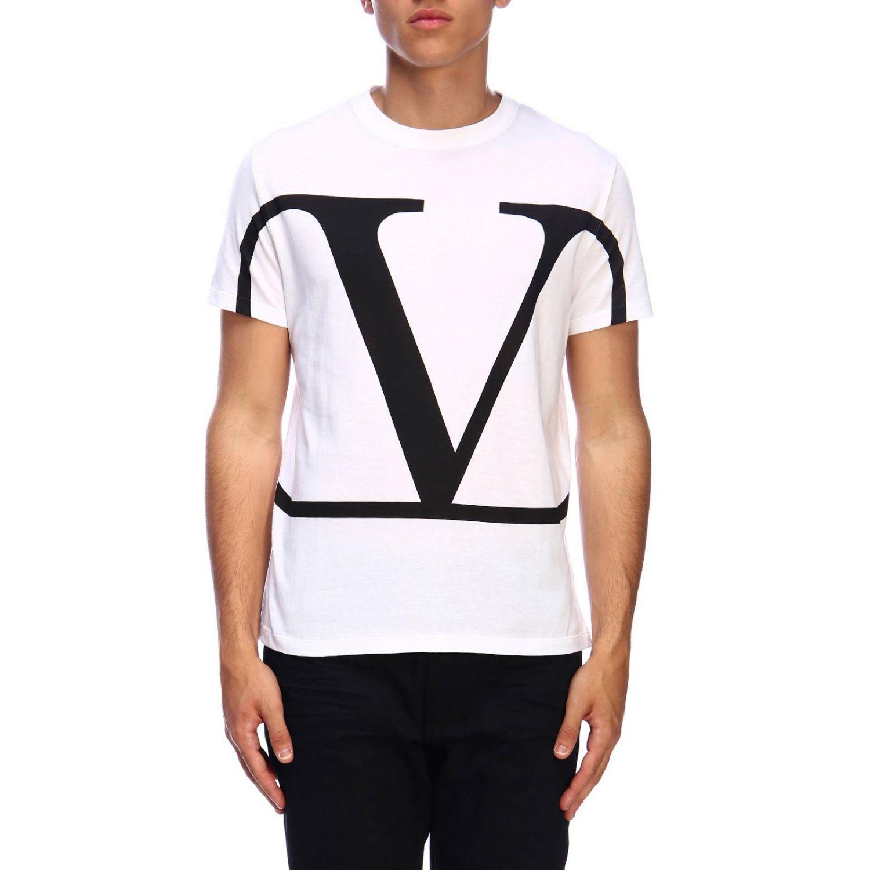 T-shirt Valentino a maniche corte con stampa VLogo bianco 1