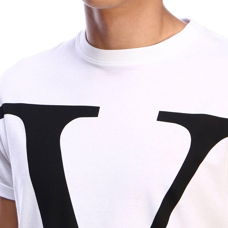 T-shirt Valentino a maniche corte con stampa VLogo bianco 4