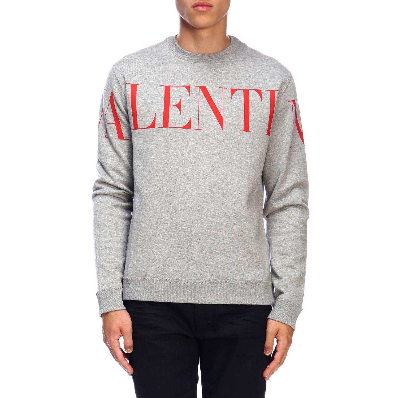 Valentino Sweatshirt mit Rundhalsausschnitt und Logo grau 1