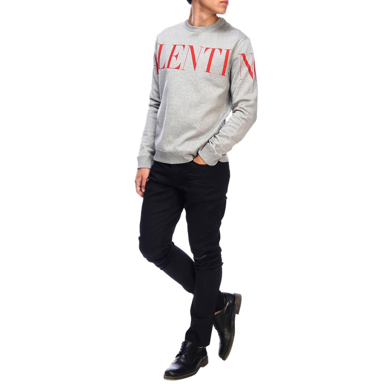 Valentino Sweatshirt mit Rundhalsausschnitt und Logo grau 2