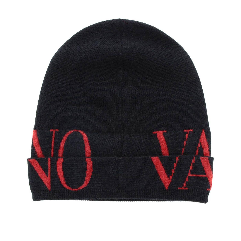 Cappello Valentino Garavani in lana con logo in jacquard nero 2