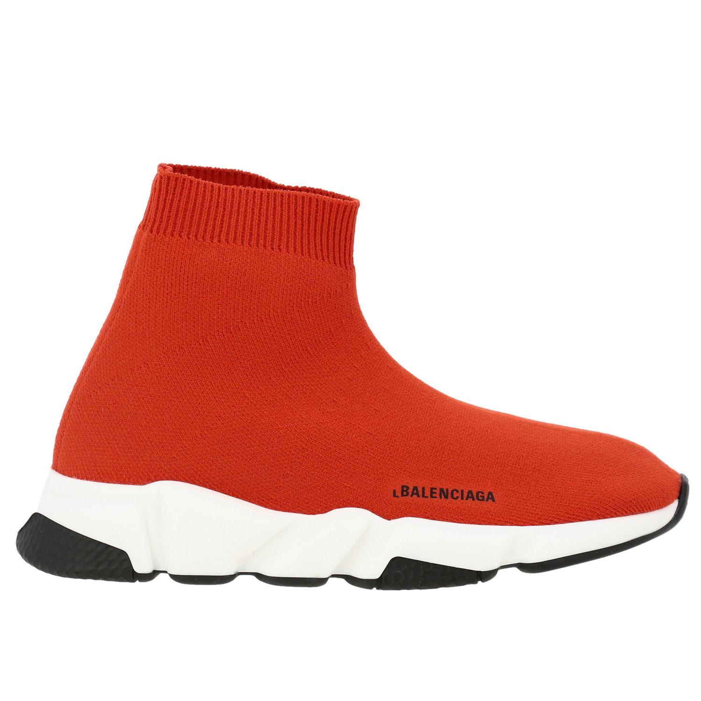 鞋履 Balenciaga: Balenciaga Running Speed 科技面料logo印花运动鞋 红色 1