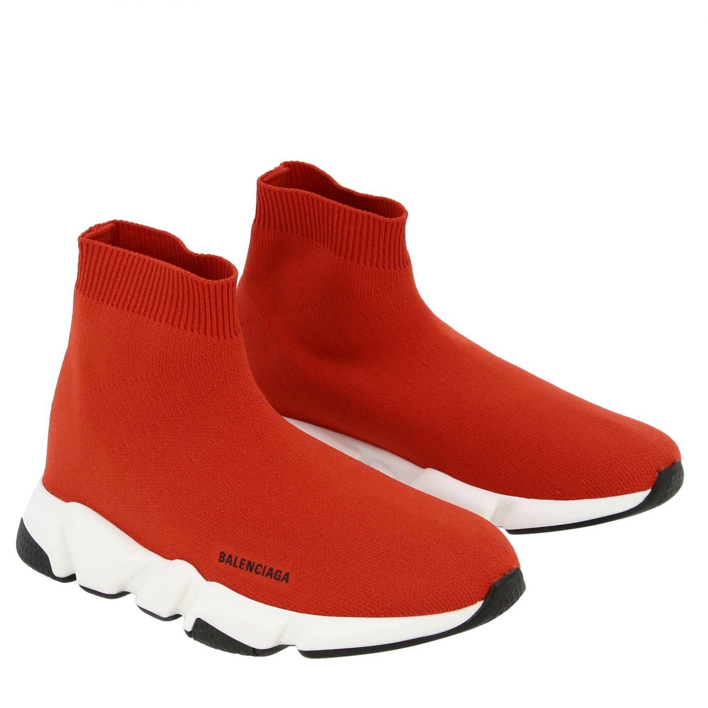 鞋履 Balenciaga: Balenciaga Running Speed 科技面料logo印花运动鞋 红色 2