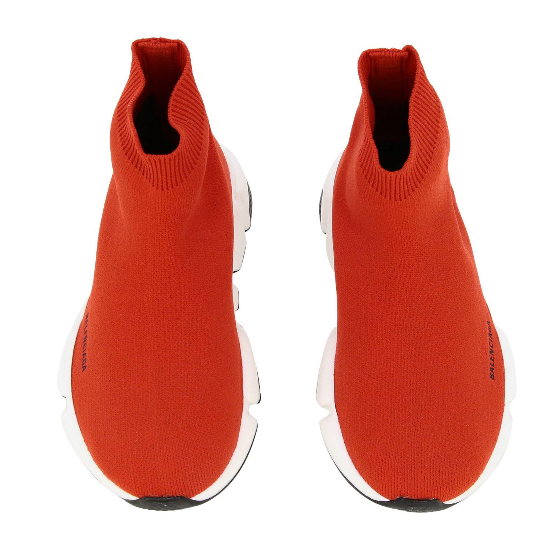 鞋履 Balenciaga: Balenciaga Running Speed 科技面料logo印花运动鞋 红色 3