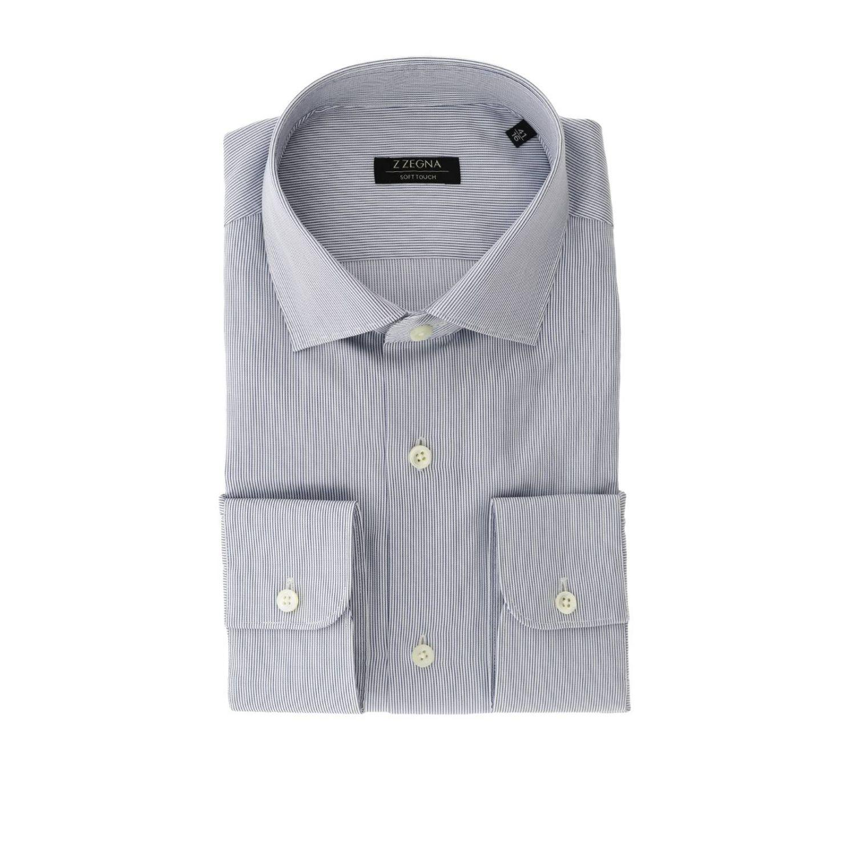 Camicia Alessio Z Zegna con collo francese blue 1
