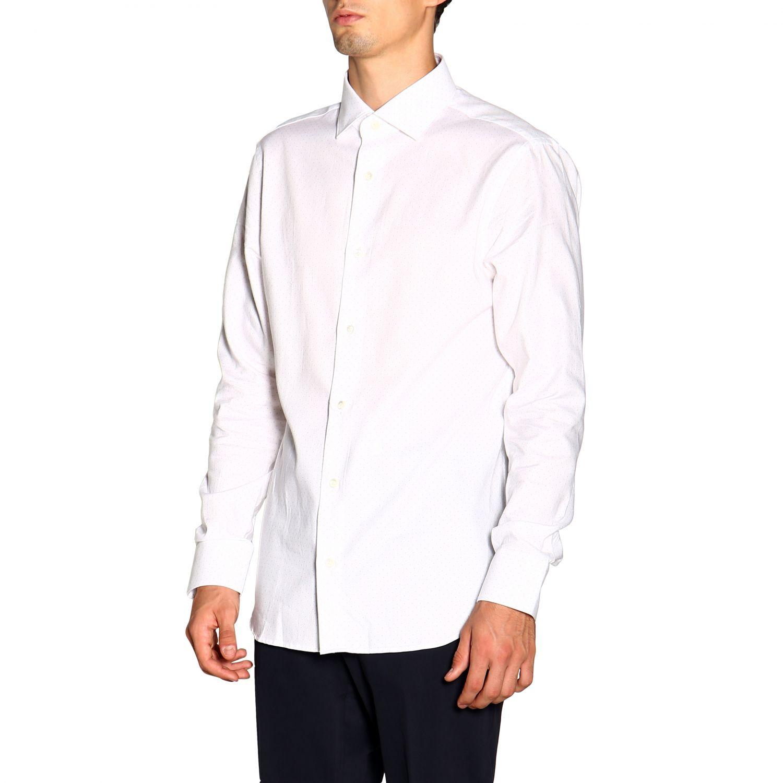 Camisa Z Zegna: Camisa Alessio Z Zegna con cuello francés de micro lunares blanco 4