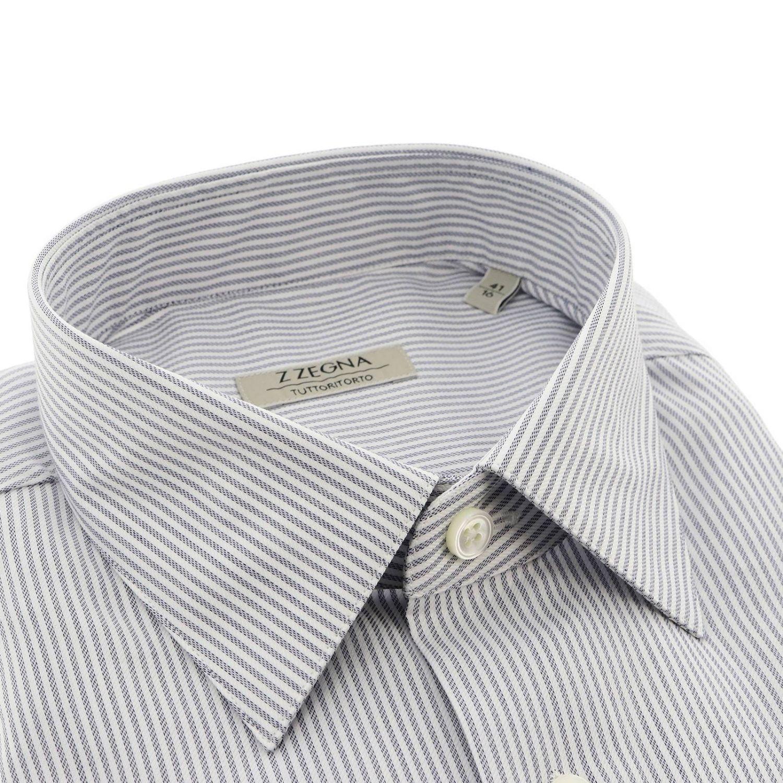 Z Zegna Edoardo 标准领条纹衬衫 浅蓝色 2