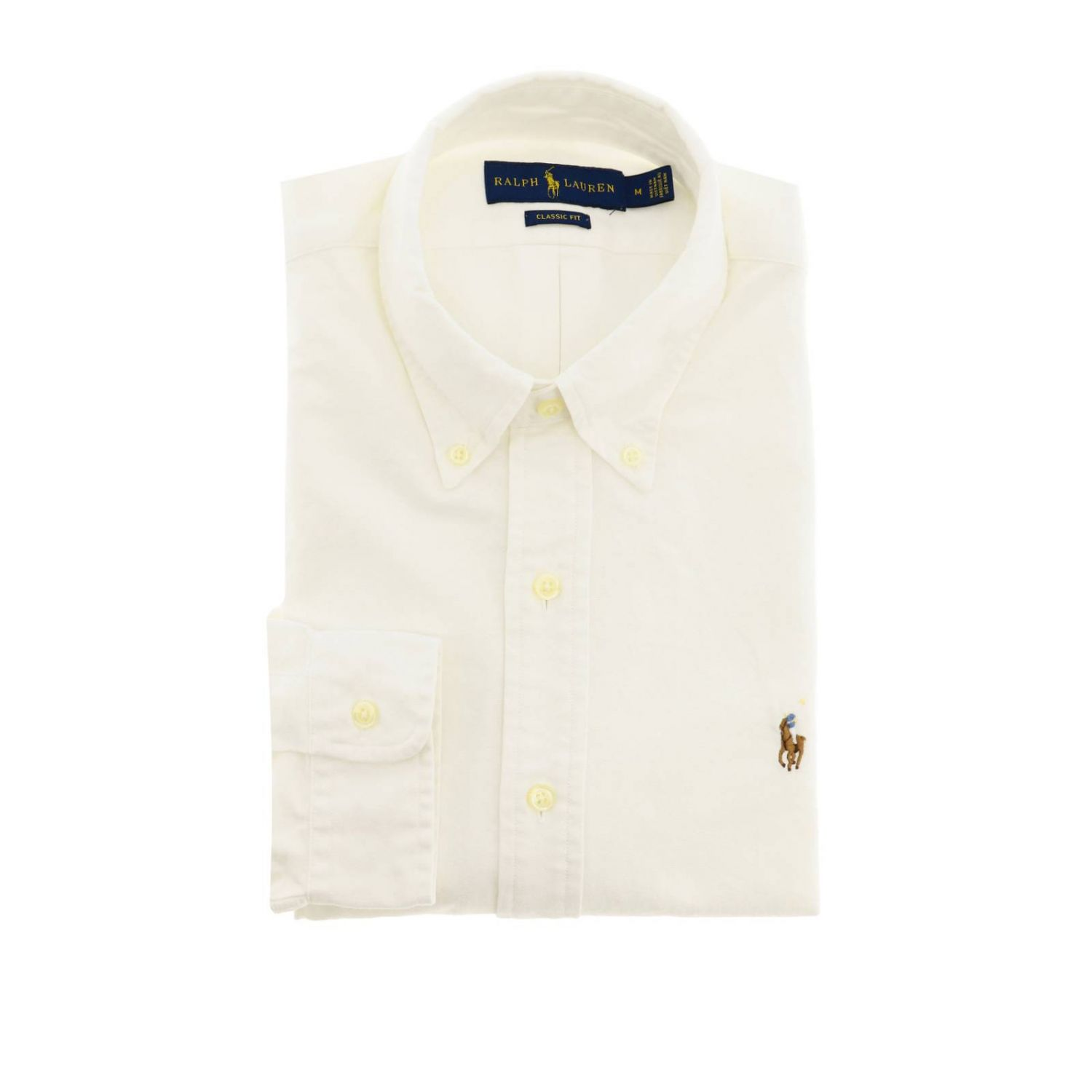 Custom fit Oxford shirt with button down collar and Polo Ralph Lauren logo white 1
