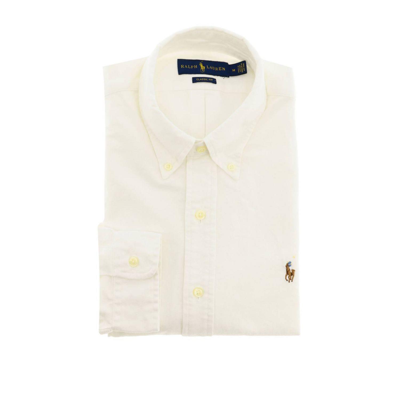 Chemise Oxford custom fit avec col button down et logo Polo Ralph Lauren blanc 1