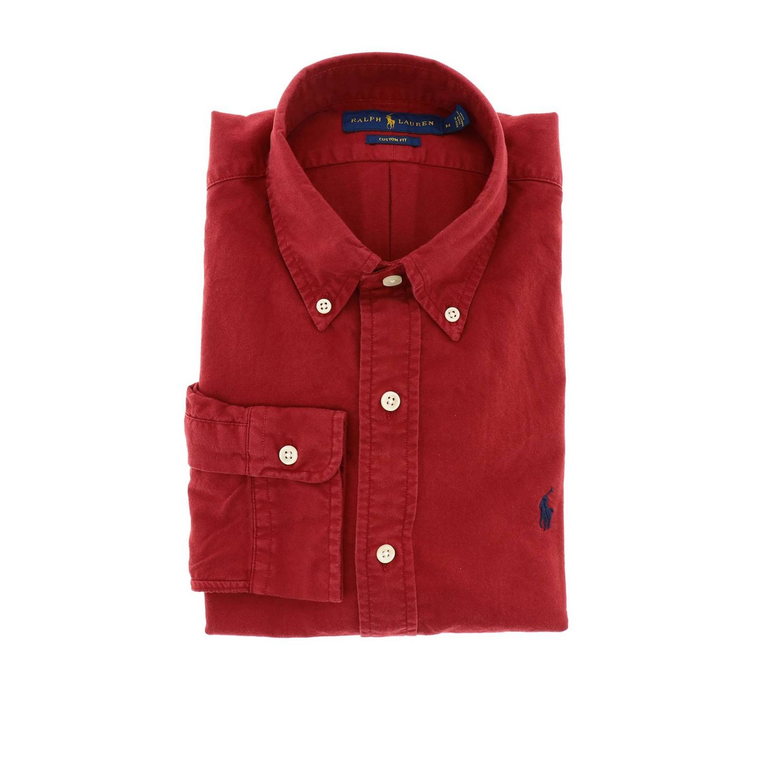 Chemise Oxford custom fit avec col button down et logo Polo Ralph Lauren rouge 1