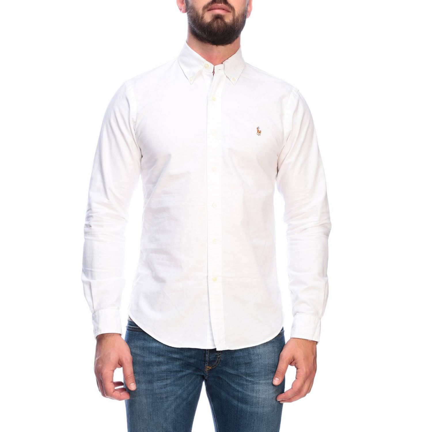 Chemise Oxford slim fit avec col button down et logo Polo Ralph Lauren blanc 1