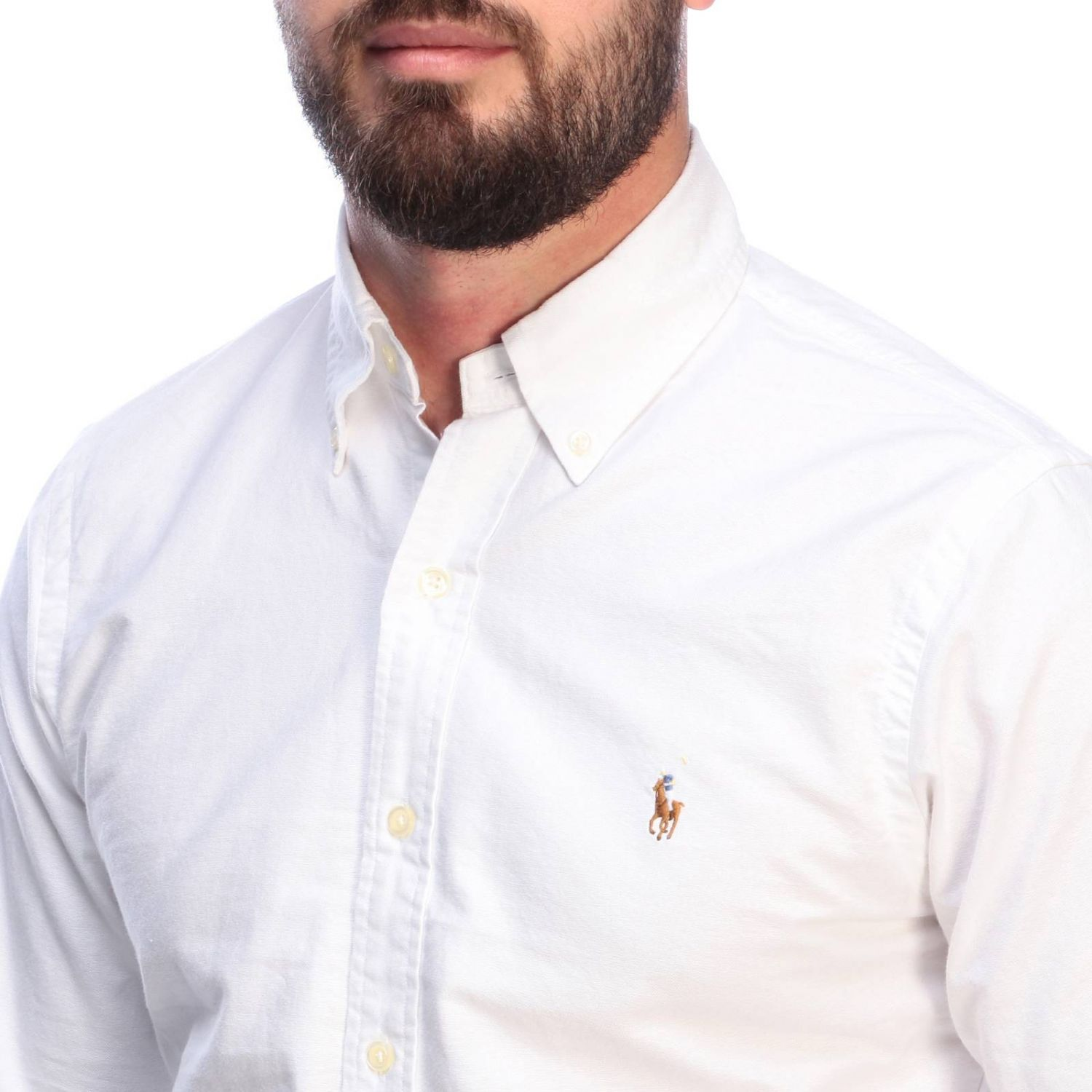 Chemise Oxford slim fit avec col button down et logo Polo Ralph Lauren blanc 3