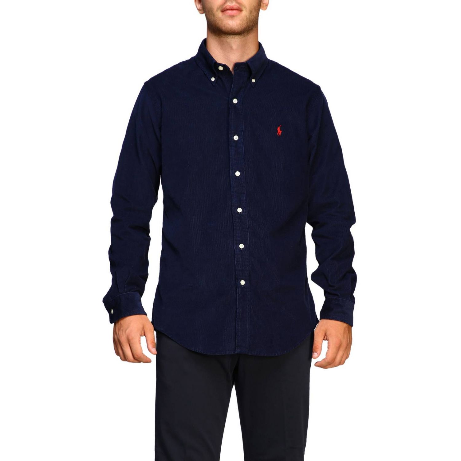 Custom-fit ribbed shirt with button-down collar and Polo Ralph Lauren logo blue 1