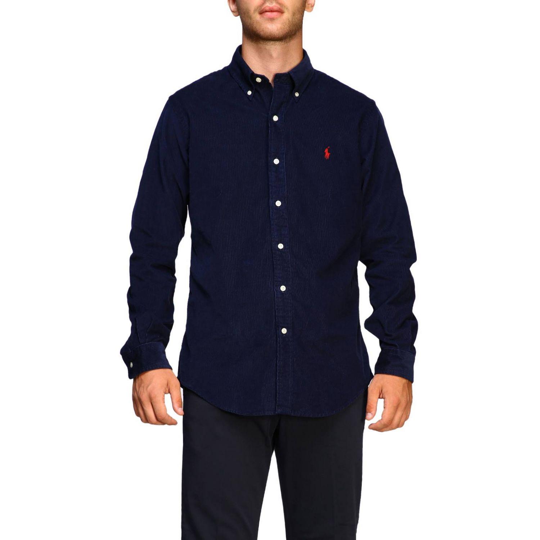 Camisa acanalada a medida con cuello abotonado y logo de Polo Ralph Lauren azul oscuro 1
