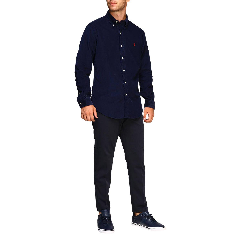 Camisa acanalada a medida con cuello abotonado y logo de Polo Ralph Lauren azul oscuro 2