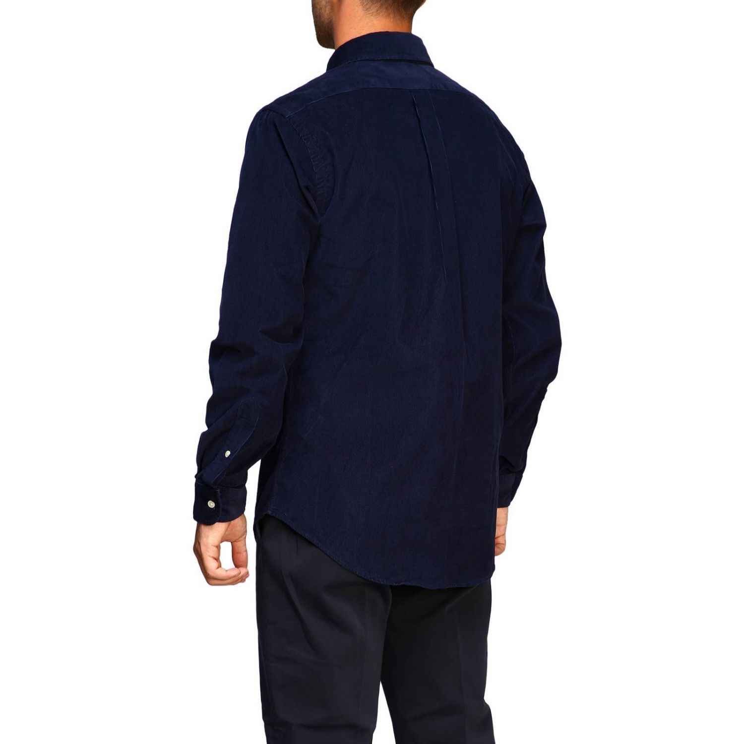 Custom-fit ribbed shirt with button-down collar and Polo Ralph Lauren logo blue 3
