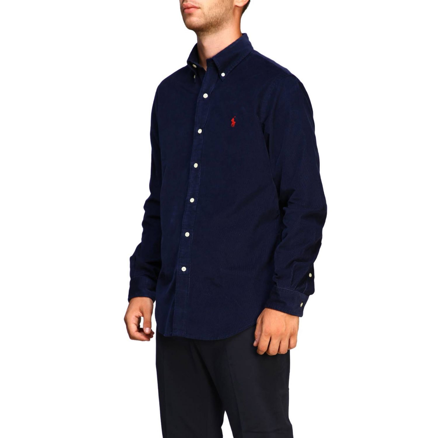 Custom-fit ribbed shirt with button-down collar and Polo Ralph Lauren logo blue 4