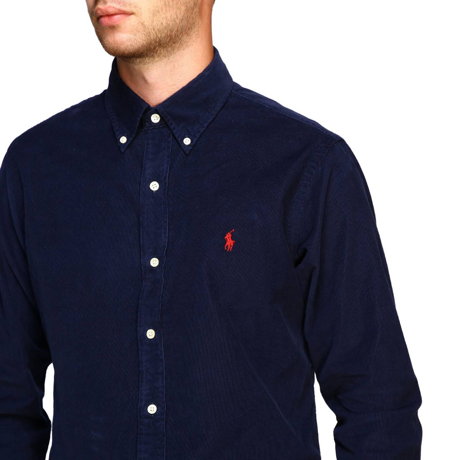 Custom-fit ribbed shirt with button-down collar and Polo Ralph Lauren logo blue 5
