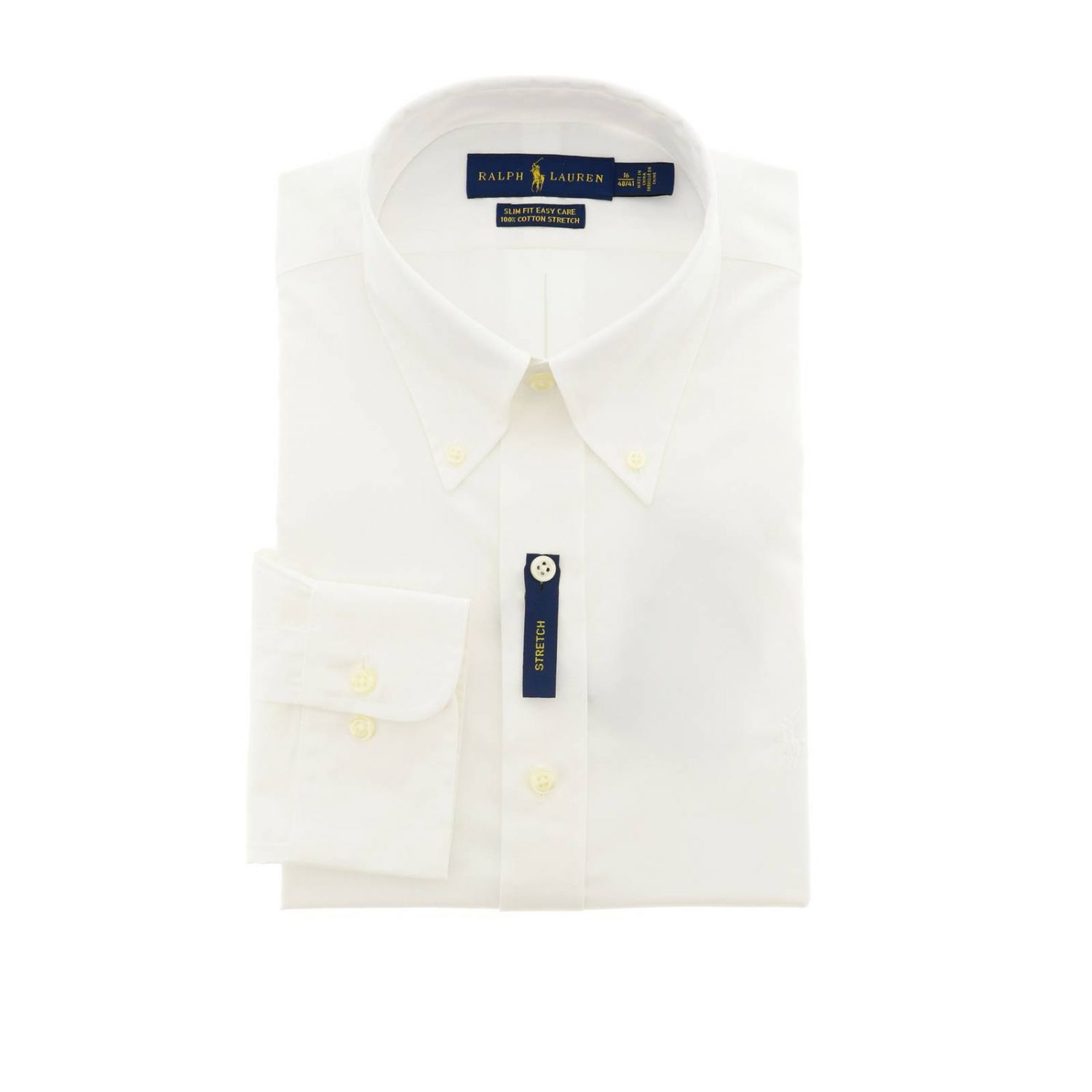 Easy care slim fit shirt with button down collar and Polo Ralph Lauren logo white 1